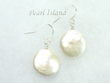 Art Deco White Coin Pearl Earrings 13-14mm