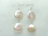 Art Deco White Coin Pearl Earrings with 2 pearls 13-14mm