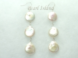Art Deco White Coin Pearl Earrings with 3 pearls 13-14mm