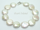 Art Deco White Coin Pearl Bracelet 13-14mm