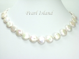 Art Deco White Coin Pearl Necklace 13-14mm