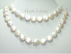 36 Inch Art Deco White Coin Pearl Necklace 13-14mm