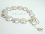 Art Deco White Coin Pearl Bracelet with Magnetic Clasp and Safety Chain