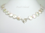 Art Deco White Coin Pearl Necklace with Magnetic Clasp