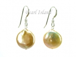 Art Deco Peach Pink Coin Pearl Earrings 12-13mm