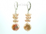 Art Deco Peach Pink Coin Pearl Long Earrings 12-13mm
