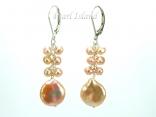 Art Deco Peach Pink Coin Pearl Long Earrings 12-13mm