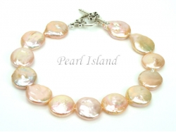 Art Deco Peach Pink Coin Pearl Bracelet with T-bar Clasp