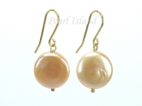 9ct Gold Peach Pink Coin Pearl Earrings 12-13mm