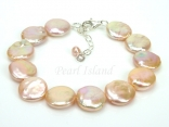 Art Deco Peach Pink Coin Pearl Bracelet 12-13mm