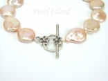 Art Deco Peach Pink Coin Pearl Necklace with T-bar Clasp