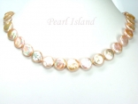 Art Deco Peach Pink Coin Pearl Necklace with Extension Chain
