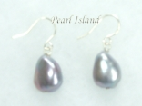 Enchanting Silver Grey Baroque Pearl Earrings