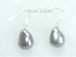 Enchanting Silver Grey Baroque Pearl Earrings