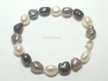Enchanting Gun-Metal Grey White Baroque Pearl Bracelet
