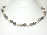 Enchanting Gun-Metal Grey White Baroque Pearl Necklace