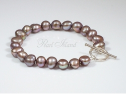 Enchanting Grey Baroque Pearl Bracelet with Toggle Clasp
