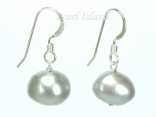 Large Silver Grey Baroque Pearl Earrings