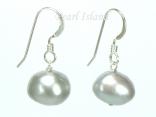 Large Silver Grey Baroque Pearl Earrings