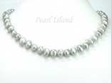 Large Silver Grey Baroque Pearl Necklace