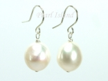 Quality White Baroque Pearl Earrings 10-10.5mm