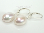 Large Quality White Baroque Pearl Lever Back  Earrings 12-13mm