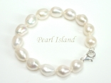 Large AA White Baroque Pearl Bracelet
