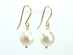 9ct Gold White Baroque Pearl Earrings 10-10.5mm