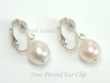 White Baroque Pearl Clip on Earrings 10-10.5mm