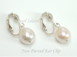 White Baroque Pearl Clip on or Lever back Earrings 10-10.5mm