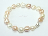 Enchanting Peach White Baroque Pearl Bracelet