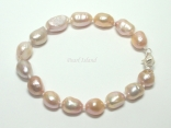 Enchanting Peach Lavender Baroque Pearl Bracelet