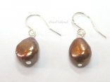 Enchanting Chocolate Brown Baroque Pearl Earrings