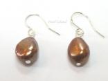 Enchanting Chocolate Brown Baroque Pearl Earrings