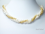 Trinity 3-Row Yellow & White Baroque Pearl Necklace