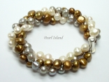 Trinity 3-Row Brown GW Baroque Pearl Bracelet