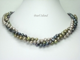 Trinity 3-Row Black G Baroque Pearl Necklace