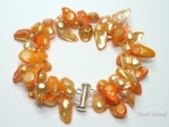 Vogue 2-Row Orange Blister Pearl Bracelet