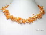 Vogue 2-Row Orange Blister Pearl Necklace