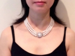Bridal Pearls - Prestige 3-Strand White Freshwater Pearl Necklace