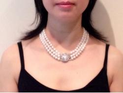 Prestige 3-Strand White Freshwater Pearl Necklace 16.5inch