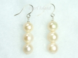 Prestige White Pearl Earrings with three pearls 8-8.5mm