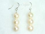Prestige White Pearl Earrings with three pearls 8-8.5mm