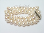 Bridal Pearls - Prestige 3-Strand White Pearl Bracelet 8-8.5mm