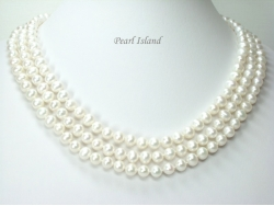 Prestige 3-Strand White Pearl Necklace 8-8.5mm