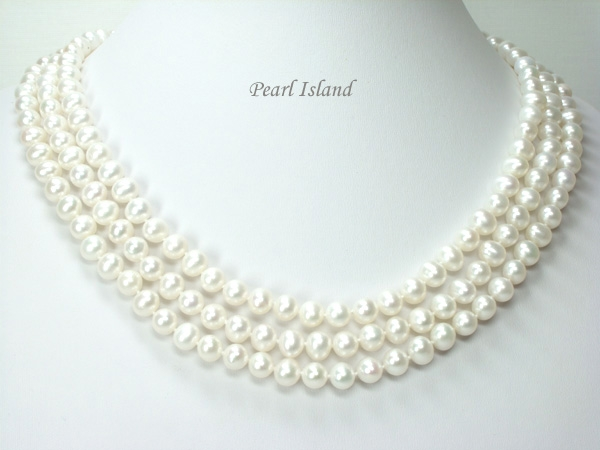 d0b110065d549 Prestige 3-Strand White Freshwater Pearl Necklace 8-8.5mm - Pearl Island