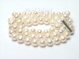 Prestige 3-Strand White Pearl Bracelet 7-8mm