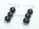 Prestige Peacock Black Pearl Earrings with 3 Pearls 7-8mm
