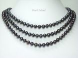Prestige 3 Strand Peacock Black Pearl Necklace 7-8mm