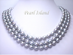 Prestige 3 Strand Silver Grey Pearl Necklace 9-10mm